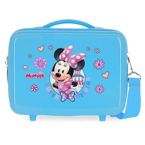 Disney Minnie Super Helpers Neceser Adaptable con Bandolera Azul 29x21x15 cms Rígido ABS 9,14L