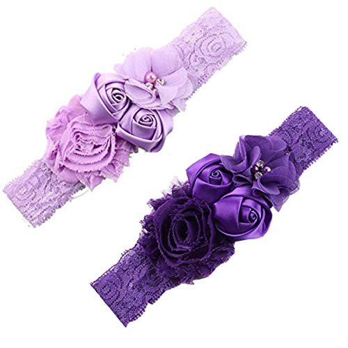 Ever Fairy Chiffon Lace Flower Baby Girls Turban Headband Head Wrap With Pearl
