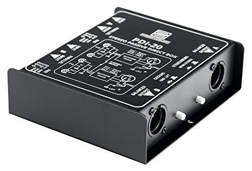 Pronomic PDI-20 passive Stereo-DI-Box - Frequenzbereich: 15 Hz - 30 kHz - Stereo/Mono-Schalter - Pad-Schalter - Ground-Lift - schwarz
