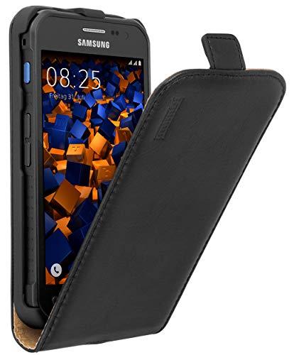 mumbi Echt Leder Flip Hülle kompatibel mit Samsung Galaxy Xcover 3 Hülle Leder Tasche Hülle Wallet, schwarz