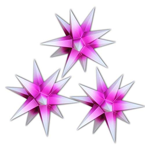 3 Sterne beleuchtet lila mit weißen Spitzen, Sternschmiede (ArtNr. 312) mit Kompaktnetzteil