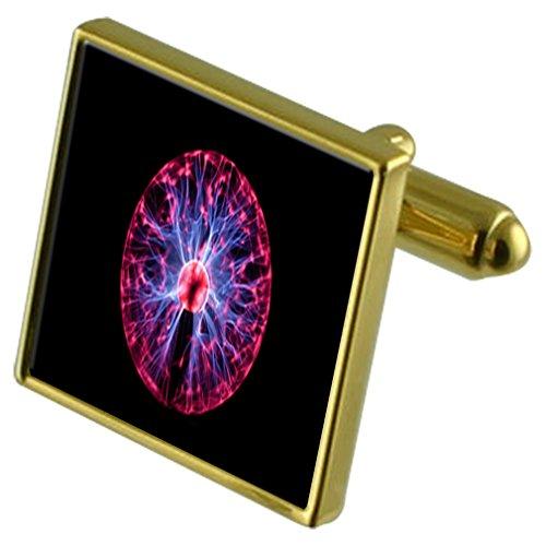 Bolas de Plasma energía Tono Oro Gemelos Crystal Gift Set Clip de Corbata