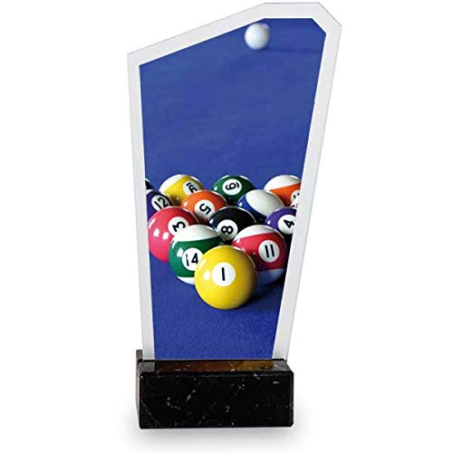 Trofeos Martínez - Trofeo de metacrilato Impreso a Color con Base mármol Billar. (19cm)
