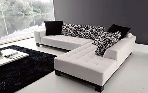 Sofá chaise longue de piel sintética blanca con cojines de respaldo de diseño floral blanco y negro