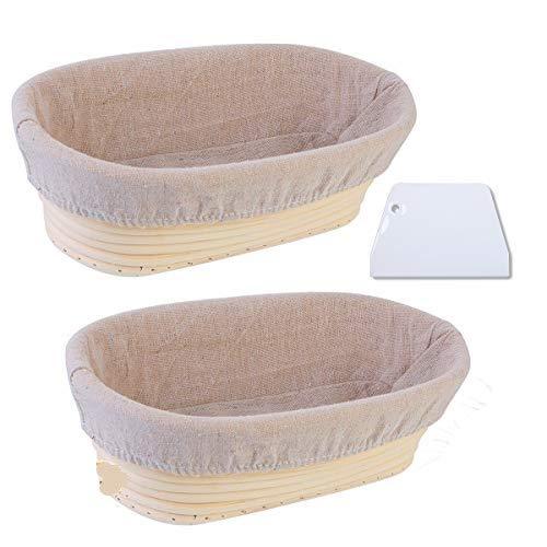 2Pz Cesto Ovale Banneton Casa Lievita Pagnotta Cesto da Lievitazione del Pane Banneton in Rattan Cestino di Fermentazione con Fodera in Lino e Raschietto per la Pasta Ovale (25cm*15cm*8cm)