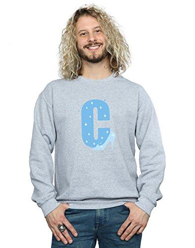 Disney Herren Alphabet C is for Cinderella Sweatshirt Sport Grau Large
