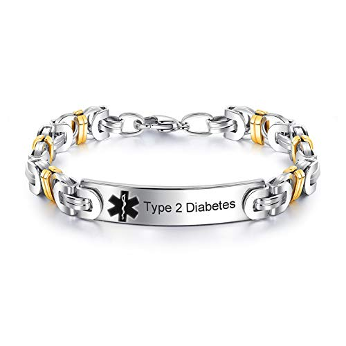 Personalized Custom Stainless Steel Medical Alert Disease Awareness Gold Plated Byzantine Bracelet Women Men Identification ID Bangle Emergency Life Save for Mom,Dad,Son,Daughter,Free Engrave