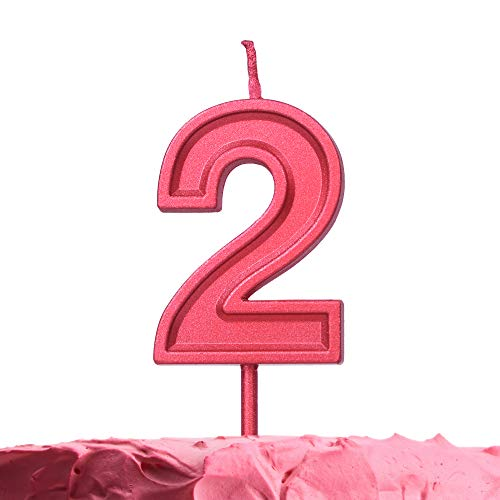 Get Fresh Number 2 Birthday Candle – Red Number Two Candle on Stick – Elegant Red Number Candles for Birthday Anniversary Wedding Party – Perfect Baby's 2nd Birthday Candle for Cake– Red 2 Candle