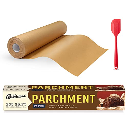 BAKLICIOUS 205 SQ FT parchment paper roll for baking 15 in x 164 ft Unbleached Parchment Paper roll, Use for Cooking, Grilling, Steaming