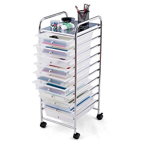 DREAMADE Rollwagen Schublade, Rollschrank Rollcontainer mit Schublade 10 Fächern, Haushaltswagen auf Roll, Badtrolley, Farbewahl, Metall, PP (Weiß)