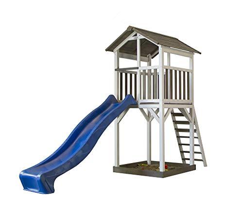 Beauty.Scouts Holzspielhaus Maui mit Aussichtsplattform + Leiter + Rutsche + Sandkasten 101x349x242cm Holz Kinder Kinderspielhaus Holzhaus Stelzenhaus Unterstand