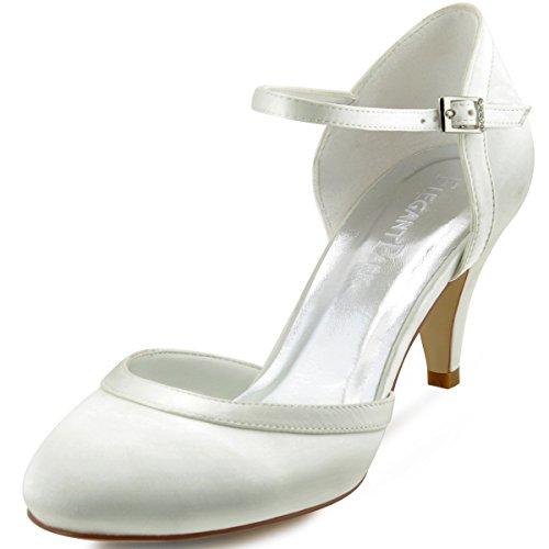 ElegantPark HC1509 Zapatos Novia Boda Mujer Tacón Raso Cerrado Zapatos para Novia...