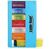com-four® Dispenser per farmaci in Polacco - Scatola farmaci per 7 Giorni - 3 Scomparti - portapillole - Porta Tablet - Dispenser settimanale per la conservazione [Polacco] (Azzurro)