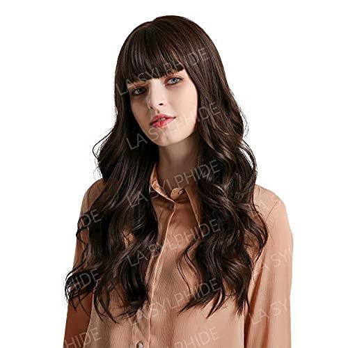 fgf Peluca marrón Encantadora, Peluca Larga para Mujer, Peluca sintética rizada Natural Resistente al Calor, Adecuada para Mujeres Blancas(con Flequillo) / A