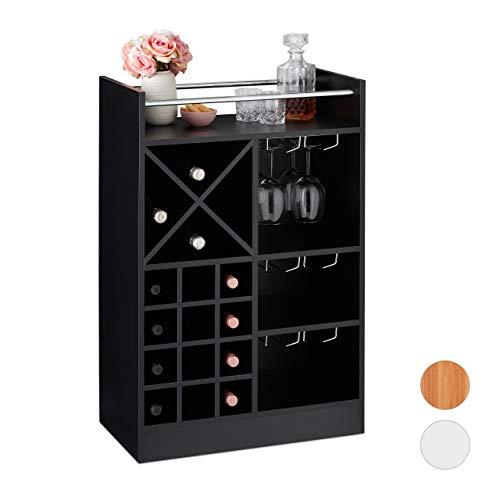Relaxdays 10028075_46 Weinregal mit Glashalter, 22 Flaschen, freistehend, Wein und Sekt, Hausbar HxBxT: 96 x 63 x 35 cm, schwarz, PB (Particle board)