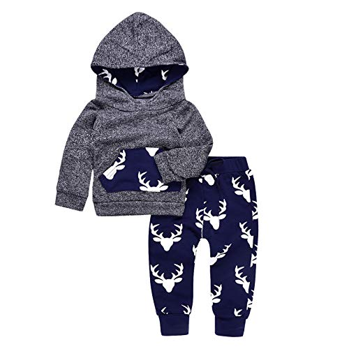 2PCs Baby Deer Print Hoodies with Pocket Top + Striped Long Pants Autumn Outfit Set (0-6M(Tag70), Grey&Dark Blue)