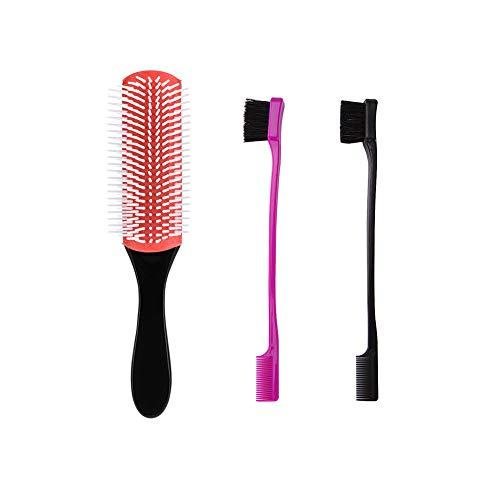 3pcs Maquillage Sourcils brosse double face peigne brosse à sourcils avec démêlant brosse à cheveux Beauté cosmétiques outil