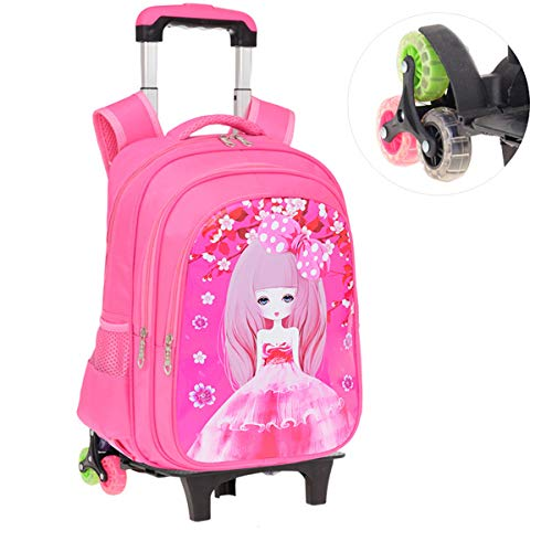 LHY EQUIPMENT Girl Trolley Backpack, Six-Wheeled Detachable Backpack Nylon Waterproof Rolling Backpack Suitable for Aged 6-12,Pink