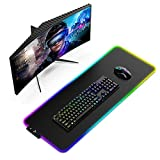 RGB Gaming Mouse Pad with Stitched Edges - Dpower Extended Large LED Soft Mousepad with 13 Lighting Modes ,Waterproof Keyboard Pad ,Anti-Slip Base Computer Mouse Mat for Gamer FPS/MOBA/PC Office Desk