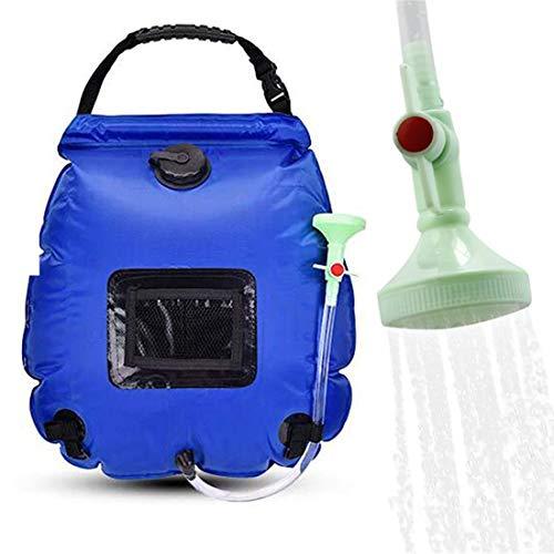 Bolsa de Ducha Solar 20L Bolsa de Ducha de Camping con calefacción Solar con Manguera Desmontable y Cabezal de Ducha Ajustable. Ideal para Acampar al Aire Libre, Caminatas (Azul)