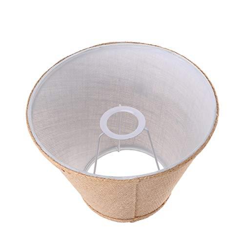 OSALADI Lámpara de Arpillera E27 Pantalla de Tela Rústica Lámpara de Tambor Cubierta de Luz de Mesa de Piso para Sala de Estar Dormitorio de Lectura (Caqui)