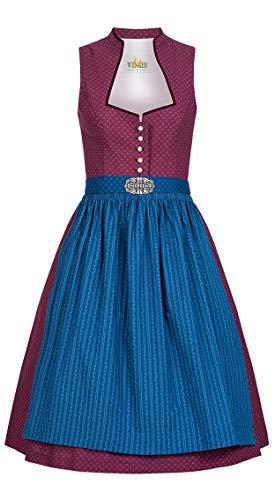 Wenger Austrian Style Dirndl Molly Weinrot-Blau, Retro, Hochgeschlossen, Vintage Rot Gr. 34