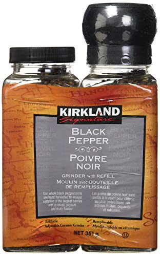 Kirkland Signature Black Pepper Adjustable Grinder with Refill, 12.6 Ounces