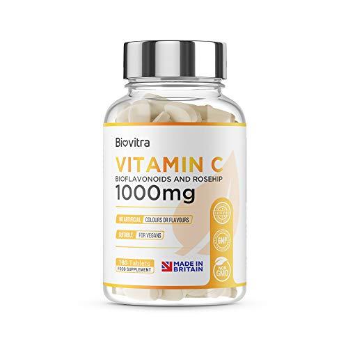 BioVitra Vitamin C Food Supplement, High Strength UK Made Vitamin C Tablet, 180 Tablets of 1000mg Vitamin C
