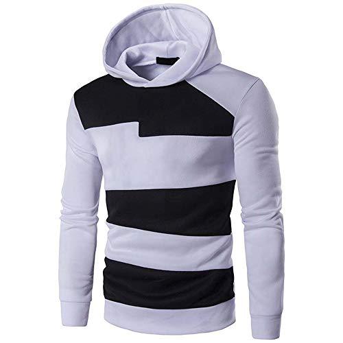 Herren Frühling Herbst Casual Sport Running Warm und Bequem Langarm Hoodie T-Shirt Gr. Medium, weiß