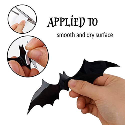 Jinlaili Pipistrelli Adesivi Halloween, 48 Pz Decorazione Murale Halloween 3D, Pipistrello Decorazione Festa di Halloween, Forniture di Feste Domestiche Halloween, 4 Dimensioni, Nero
