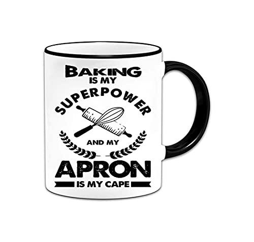 Divertida taza de café para hornear, hornear es mi superpotencia y mi delantal es mi capa, taza para amantes de la comida, linda para chefs, panaderos, pastelería, postre, decorador de pasteles, cocin