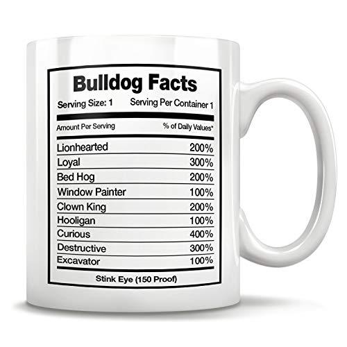 Bulldog Facts, Taza de Bulldog Inglés, idea de regalo de Bulldog, regalo para amantes de Bulldog Frenchie Bulldog, taza de café de 325 ml