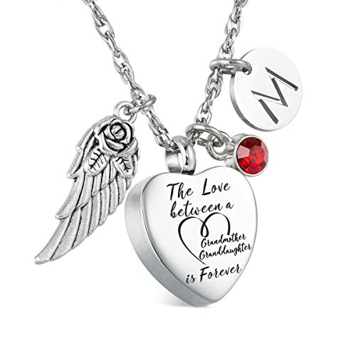 Glimkis The love between a Grandmother and Granddaughter is forever Cremation Memorial Ashes Pendant urn necklace Cremation Jewelry (Customized Initial and Birthstone)