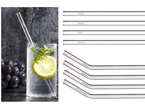 HuMaVi Juego de pajitas para empujar, 8 pajitas de cristal con cepillo; pajitas aptas para lavavajillas, sin BPA ni plástico; pajitas de cristal para diferentes vasos, pajitas de cristal.
