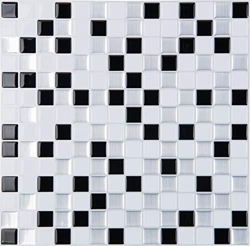 STICKGOO Peel and Stick 3D Azulejo de pared, 30 x 30 cm autoadhesivo para azulejos para cocina y baño (10 hojas, negro)