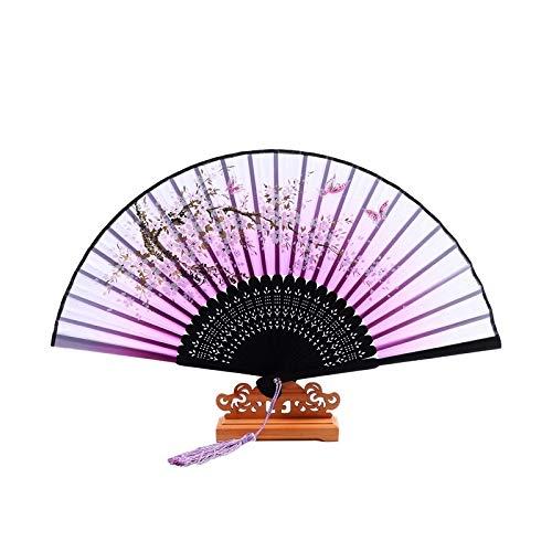 XKMY Abanico de mano de estilo chino de seda plegable abanico de boda, fiesta, danza, accesorios para decoración del hogar, adornos de manualidades (color: 3, tamaño del ventilador: 21 cm)