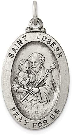 Solid 925 Sterling Silver Vintage Antiqued Catholic Patron Saint Joseph Pendant Charm Medal product image