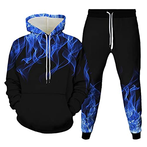 Fashion 2 Piece Flame 3D Printing Unisex Hoodie Jogging Pants Pullover...