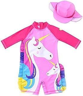 Double Unicorn Girls Swimsuit Long Sleeve with Cap (UPF.50+)