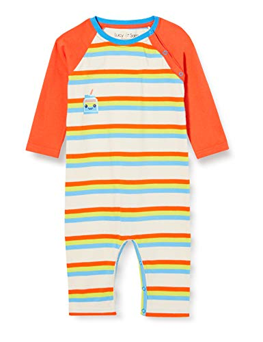 Lucy & Sam 80's Stripe Milk Bottle Playsuit Combinaison, Multicolore (Multi 94), 9-12 Mois (Taille Fabricant: 9-12M) Mixte bébé
