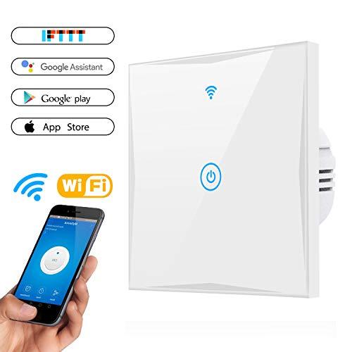 Wifi Smart Lichtschalter, MAMYOK WLAN In-Wall gehärtetes Glas Touchscreen-Schalter, arbeitet mit Amazon Alexa und Google Home, Überlastungsschutz, Timing-Funktion (1-Weg)