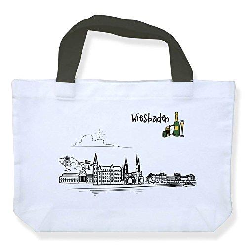 die stadtmeister Einkaufstasche Polyester Skyline Wiesbaden