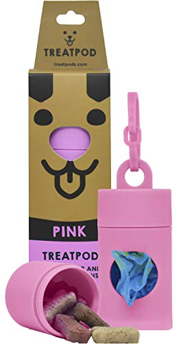 TreatPod Leash Treat Holder and Poop Bag Dispenser - 2 in 1 Dog Waste Bag Dispenser and Treat Container Pouch, Includes 15 Eco Friendly Extra Strength Bags (Pink)