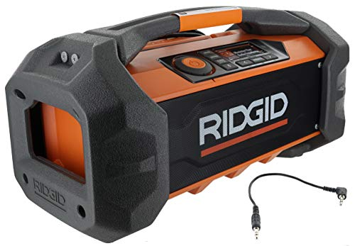 Ridgid R84087 18V Lithium Ion Cordless / Corded Jobsite Radio with Bluetooth, Aux, and AM/FM capabilities (AAA Battery and Aux Cord Included, 18V Battery Not Included)