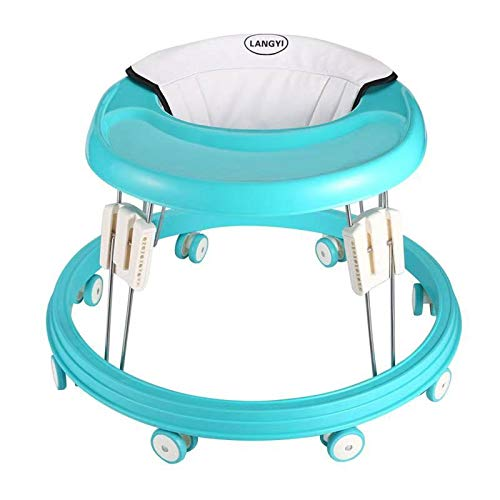 LANGYI Foldable Activity Baby Walker for Boys and Girls, Multi-Function Anti-Rollover Toddler Walker Helper with Adjustable Height for Baby 6-18Months (Green)