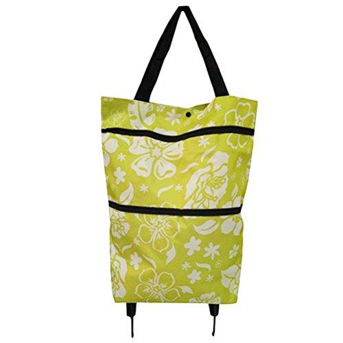 OUNONA Einkaufstrolley Zusammenklappbare Einkaufstasche mit Rdern Handtasche Schultertasche (gr¨¹ne Bltter)