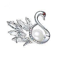 S-TING ブローチ 高級感 ヨーロッパやアメリカのハイグレードクリスタル白鳥のブローチ、女性のファッションジュエリーパールブローチピン、3.8 * 3.0センチメートル レディース