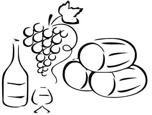 Uvas Una botella de vino Pegatinas de pared Calcomanía de pub Decoración de patrón simple 75X58Cm PVC extraíble impermeable