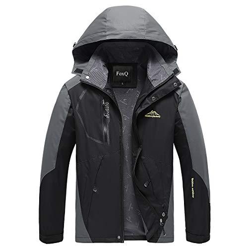 FoxQ Men's Lightweight Softshell Windbreaker Rain Jacket wearguard Outdoor Hiking Coat (X-Large, A Black)