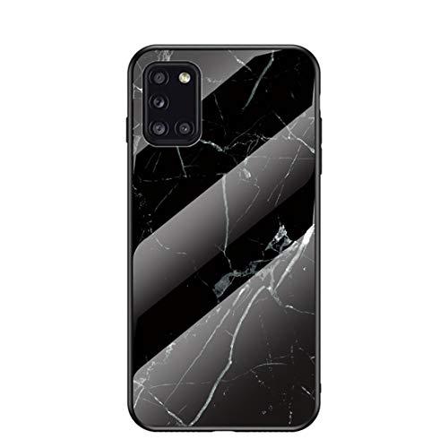 MadBee für Samsung Galaxy A31 Hülle [mit HD-Schutzfolie], Marmor Kratzfeste 9H Glas Back & TPU Silikon Rahmen und weichem Bumper Stoßabsorbierende Schutzhülle (Marmor 4)
